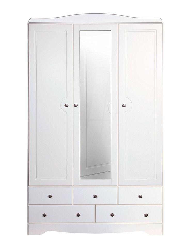 Steens Furniture Milford 3-Door 5-Drawer Mirrored Wardrobe, Wood, White