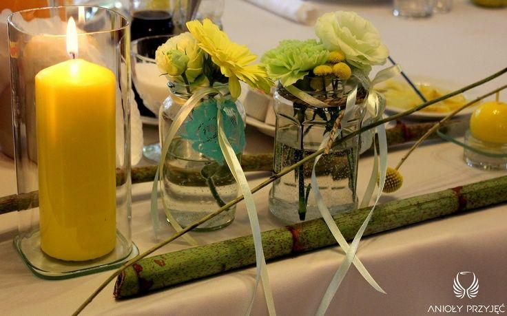 12. Green Wedding,Green yellow decor,Centerpieces / Wesele w zieleni,Dekoracje stołu,Zielone żółte dekoracje,Anioły Przyjęć