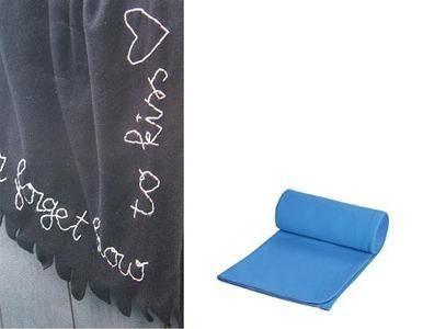Borduren op een fleece deken en plaid is een origineel cadeau idee. Koop bij Ikea, Zeeman, de Hema of op de markt een fleece deken (plaid) in een