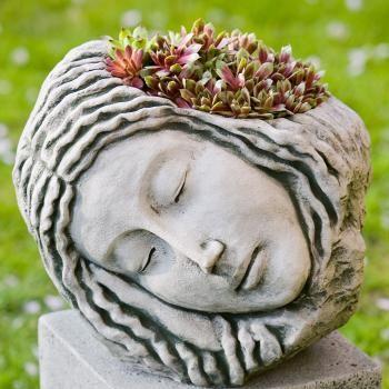BeautifulSleep Beautiful, Gardens Ideas, Cast Stones, Head Planters, Ceramics Art, Art Sculpture, Maiden Cast, Sleep Maiden, Miniatures Gardens