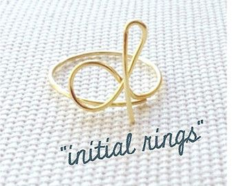 Gold Initial Ring Gold Ring for women Custom by CatherineMarissa