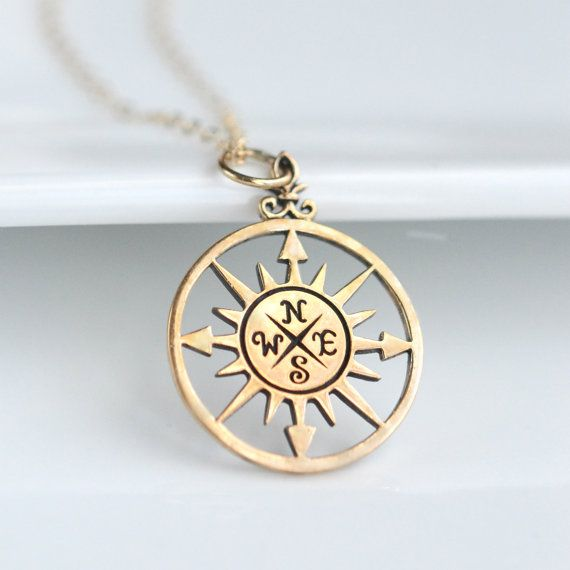 This sterling silver compass necklace will be a reminder that Some people cross your path and change your whole direction. Info: - 14k Goldfill charm