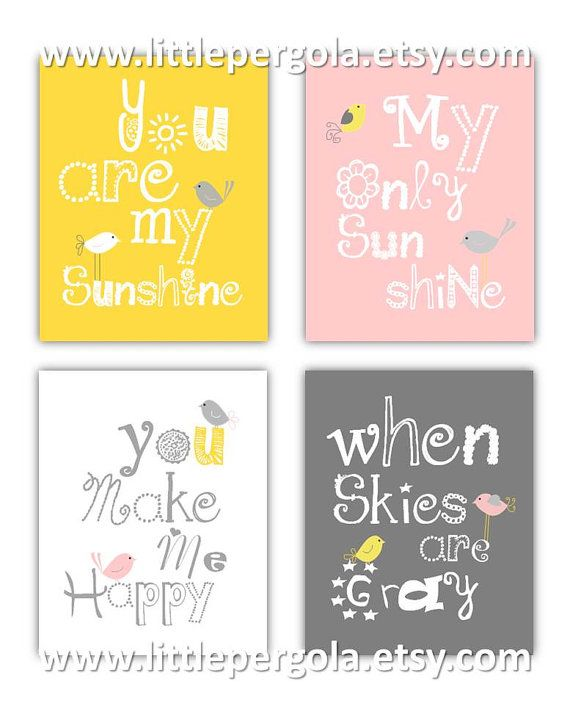 You are my sunshine Pink Gray and Yellow Art by LittlePergola, $55.00