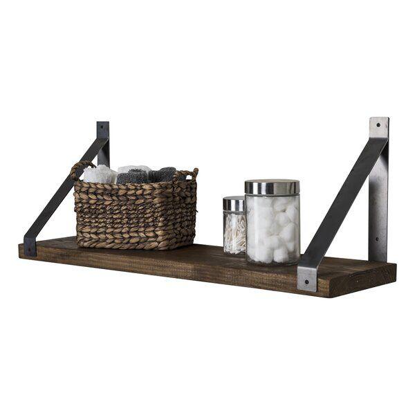 Vannie Industrial Angled Bracket Accent Wall Shelf