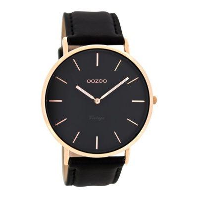 OOZOO Vintage Zwart horloge C8139 (44 mm)
