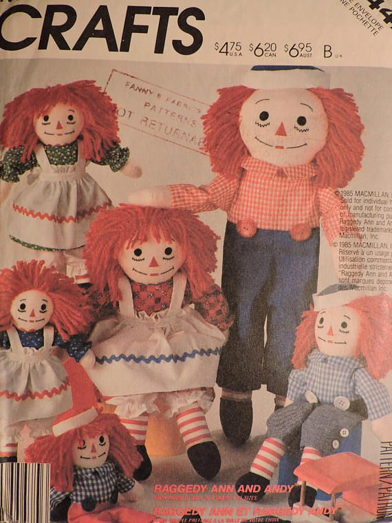 Raggedy Ann & Andy Doll Vintage McCall's 2447 Dolls Craft
