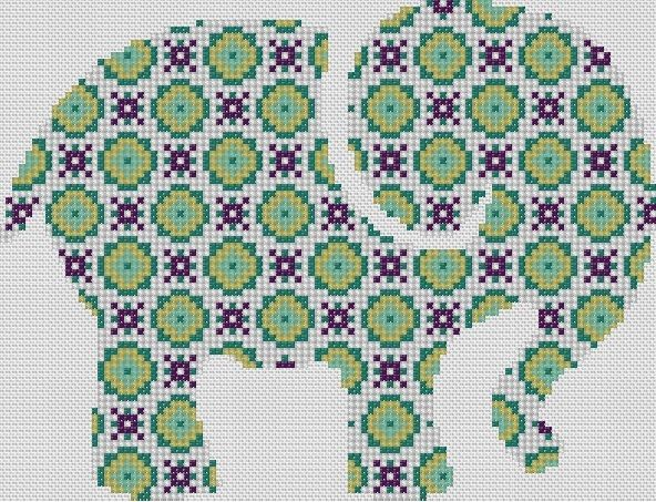 Counted Cross Stitch Pattern or Kit, Animal, Geometric pattern elephant | eBay
