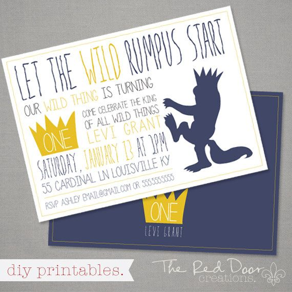 "Where The Wild Things Are - ""Let The Wild Rumpus Start"" - Our Wild Thing is Turning One - Front/Back Party Invite"