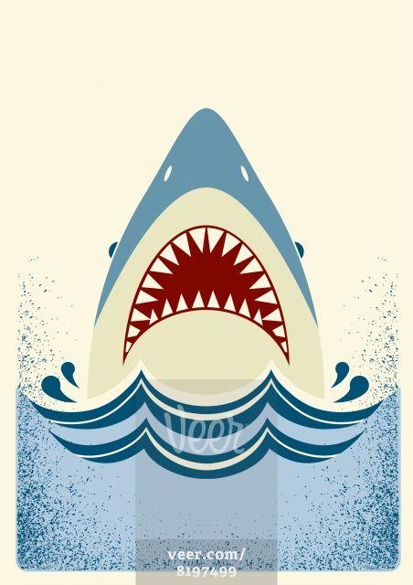 Shark jaws.Vector color illustration Stock Illustration