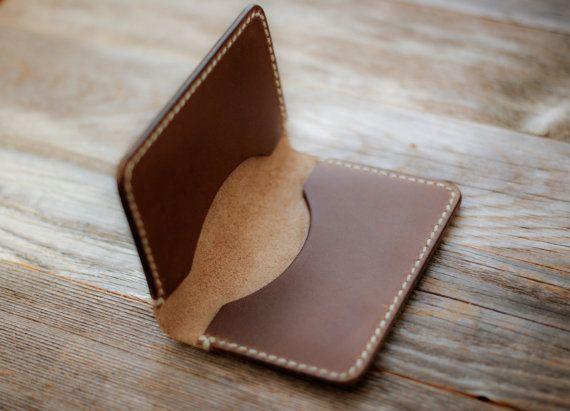 Leder Card Wallet Chromexcel Leder Karte von GruffwoodStudios