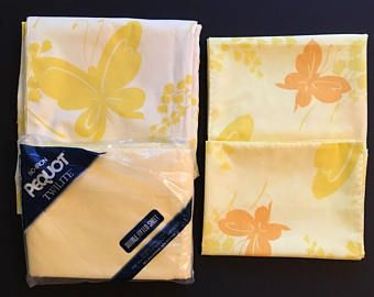 Vtg Remix Full Size Sheet Set -  Yellow and Orange Butterflies and Solid - Flat, Fitted, 2 Pillowcases - Springmaid and Pequot
