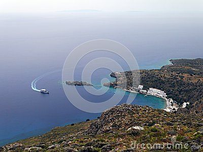 Ferry goes to the small village Loutro. Southern Crete, Greece