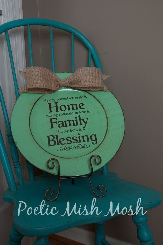 Turquoise Decorative Charger Plate with Home,Family, Blessing Saying in brown vinyl lettering and large Burlap bow.