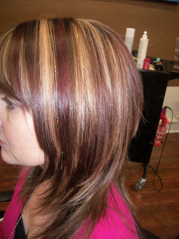 brown hair with blonde and red highlights | highlights ...