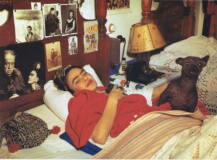 Frida resting with one of her Xoloitzcuintli dogs, Sr. Xolo.  by Raymundo Flores Melo - Picasa Web Albums