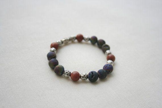 Natural Gemstone Bracelet  Druzy Agate Sandstone  by KirkeCraft