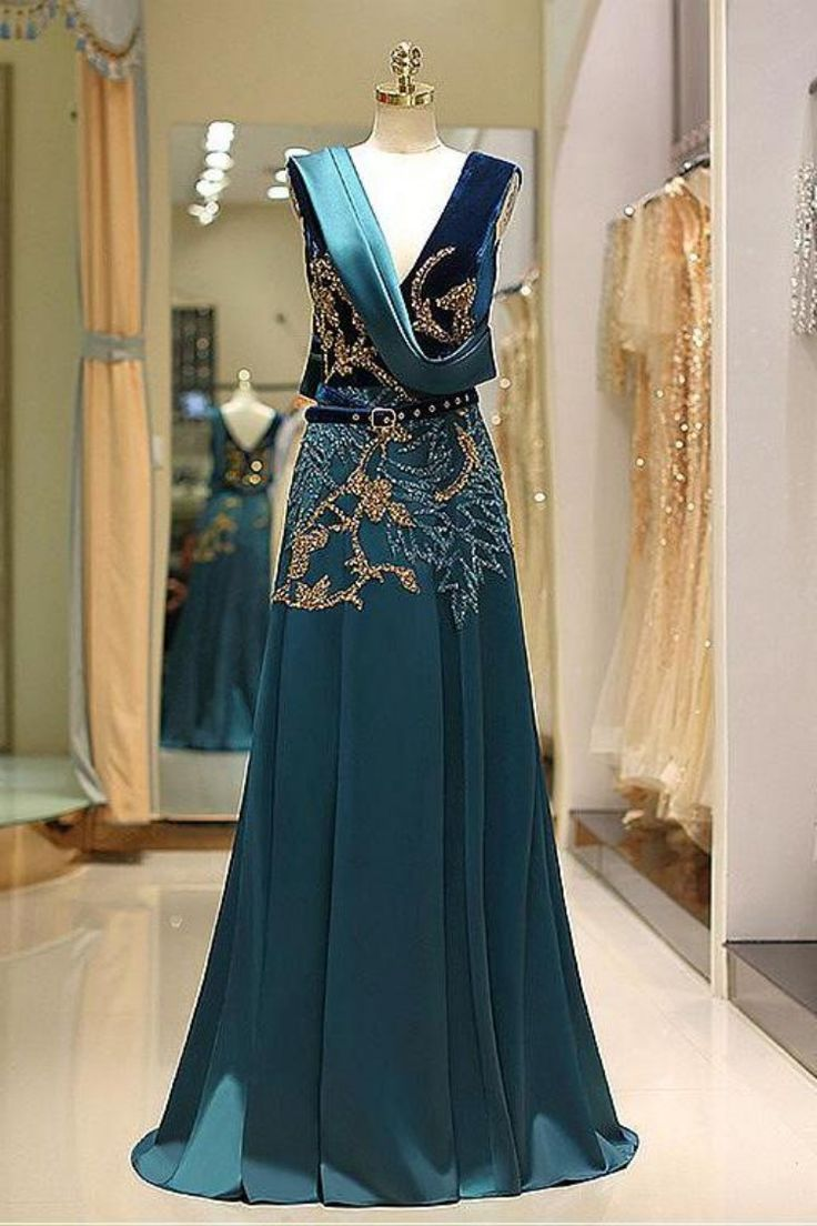 A line v neck green floor length satin prom dress with