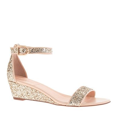 J.Crew Lillian glitter low wedges