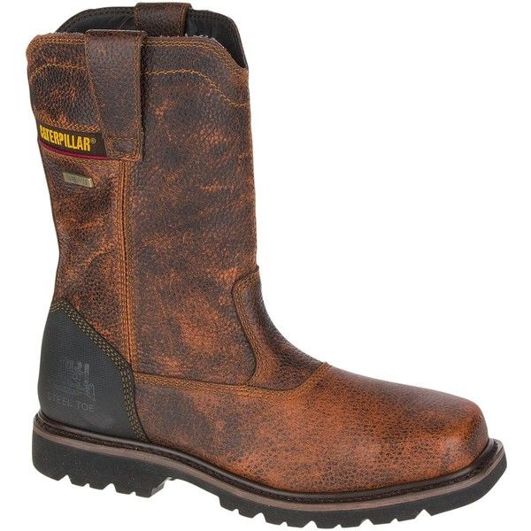 Caterpillar Canyon Pull On Waterproof Steel Toe Work Boot ($150) ❤ liked on Polyvore featuring men's fashion, men's shoes, men's boots, men's work boots, mens waterproof work boots, mens slip on boots, men's pull on work boots, mens waterproof boots and mens water proof boots