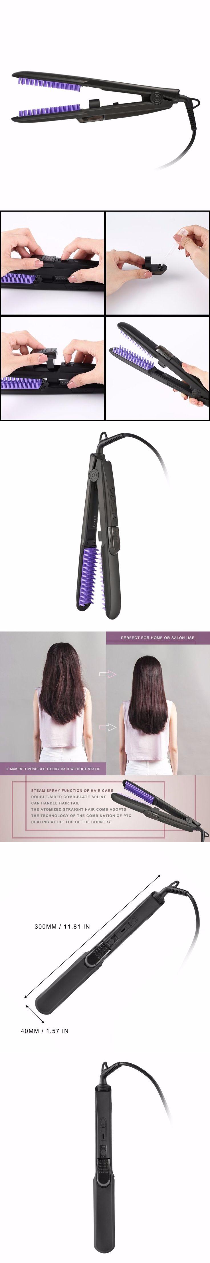 Professional Spray Steam Hair Straightener Brush Ceramic Flat Iron Hair Straightening Brush Comb for Home Salon Travel EU Plug