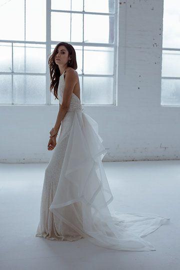 Karen Willis Holmes 'Diamond Train' with sequin wedding gown.   Follow us - @KWHBridal | Photography - @beksmithjournal . #karenwillisholmes #bridetobe #sequinweddingdress #modernwedding  #kwhtrain