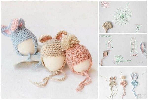 cappellino con paraorecchie a uncinetto per uova di pasqua Tutorial