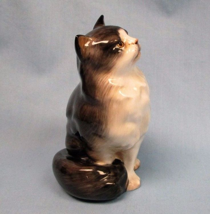 Vintage Royal Doulton HN999 Bone China Gray & White Persian Cat Figurine England | eBay