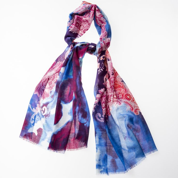 Printed Scarf 100% Wool Roses Blue http://www.creswickwool.com/accessories/scarfs/printed-scarf-100-wool-roses-blue.html