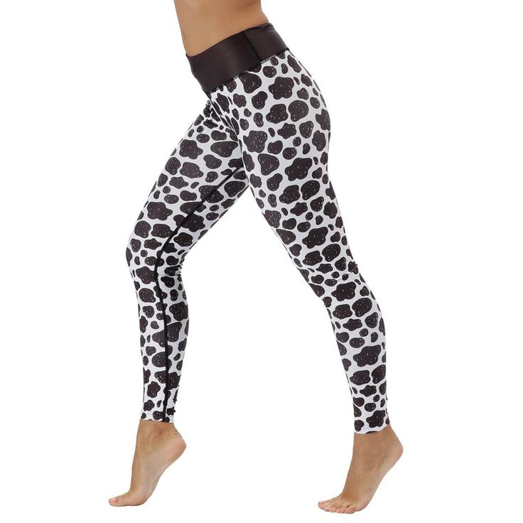 Cow Print leggings from Tikiboo, monochrome pattern, squat proof and superior quality. Introducing the newest edition to our animal print collection, the cow print. The cow collection is the perfect addition to your workout wardrobe.  With a thick black waistband for ultimate comfort and breathable fabric to help keep you cool during your workout; these cow print leggings are versatile and good looking. #Activewear #Gymwear #FitnessLeggings #Leggings #Tikiboo #Running #Yoga