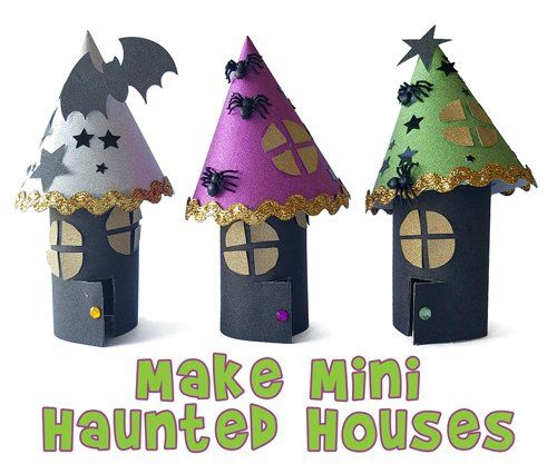 Make adorable mini Halloween haunted house crafts with toilet paper rolls and gl…  – DIY
