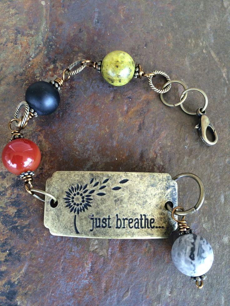 Vintage Gemstone Brass Plate Message Bracelet by circleofstonesjewel on Etsy