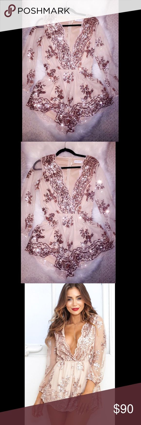 SHOWPO Rose Gold Playsuit, NEVER WORN Brand new NWT SHOWPO Playsuit. It's seriously stunning I purchased for my birthday but so sadly never got to wear it. Women's size 8 SHOWPO Dresses