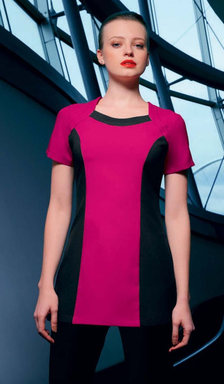 Hot pink bolero beauty tunic with contrast black side panels. Shop at www.simonjersey.com for beauty tunics, beautician uniforms, beauty therapist's tunic, salon uniforms, spa uniforms, hairdressing tunics. Perfect for many work places including beauty salons, spas, hairdressing salons, cosmetic surgeries, dog grooming salons, hotels, boutique hotels and more.