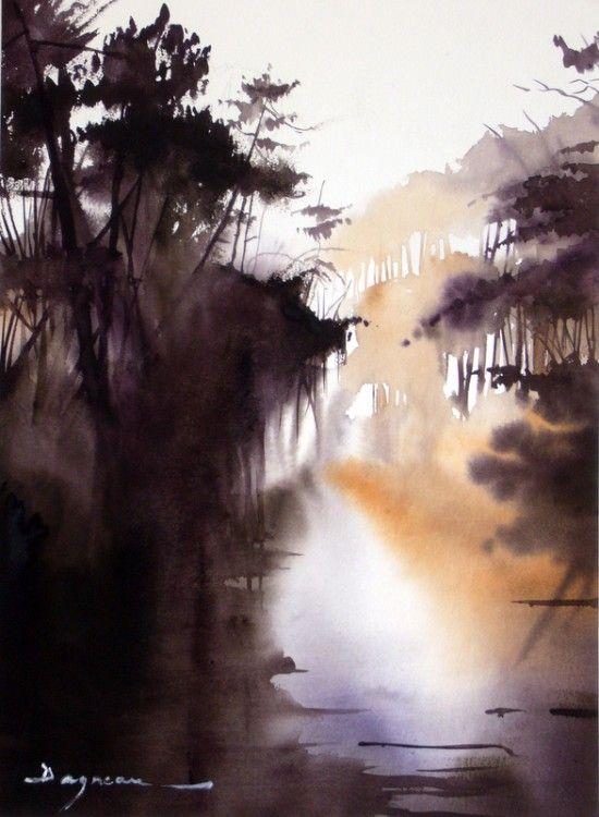le-val-de-la-leyre.jpg - Painting, 60x80 cm ©2014 par jean guy DAGNEAU - Peinture, Aquarelle