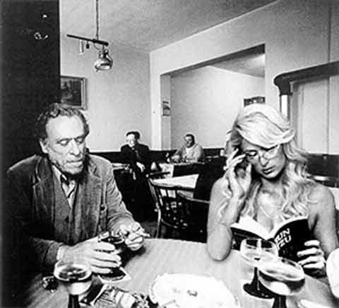 Charles Bukowski and Paris Hilton share a quiet evening together.