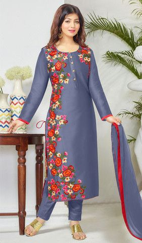 Marvelous Blue Embroidered Designer Suit In Cambric Cotton
