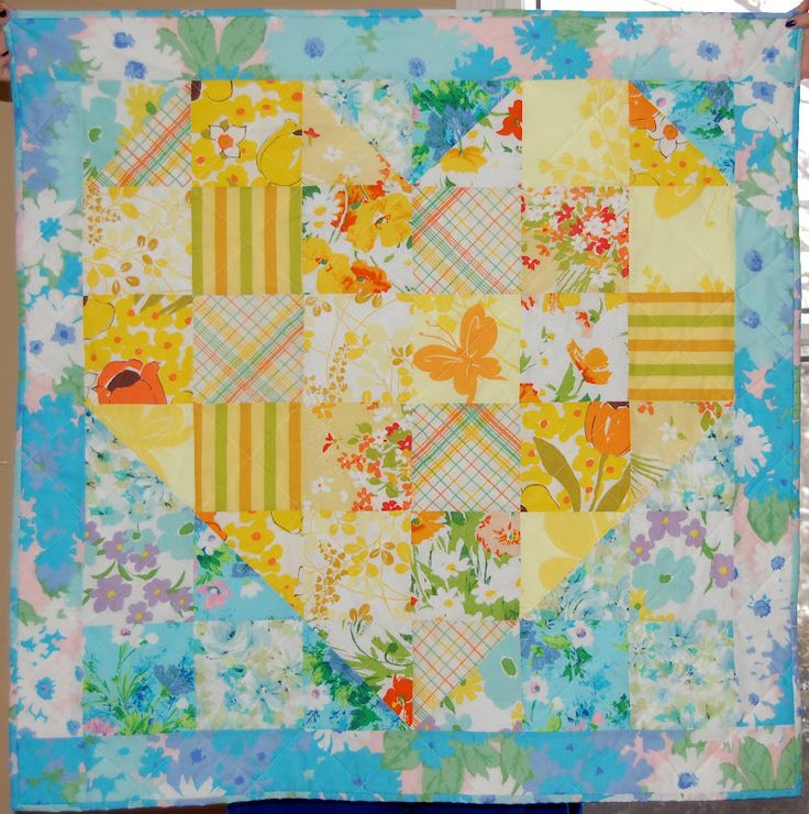quilt.cook.keep.: Vintage Sheet Heart Shaped Baby Quilt Tutorial