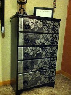 DIY Lace Painted Furniture -- great way to make your unsightly furniture shine and different than it was before. #diy #home #lacefurniture