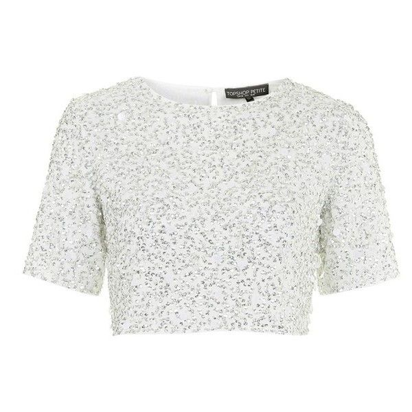 Topshop Petite Women's Topshop Sequin Crop Tee ($105) ❤ liked on Polyvore featuring tops, t-shirts, crop tops, shirts, t shirts, crop t shirt, white tee, sequin crop top and white t shirts