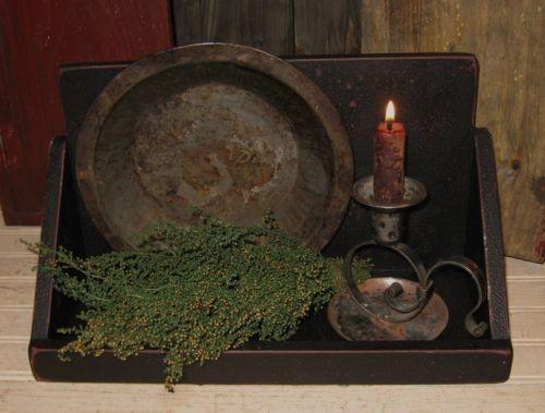 Wood Table/Wall Spice/Salt/Candle/Curio BOX SHELF*Cupboard BLACK*Primitive Decor