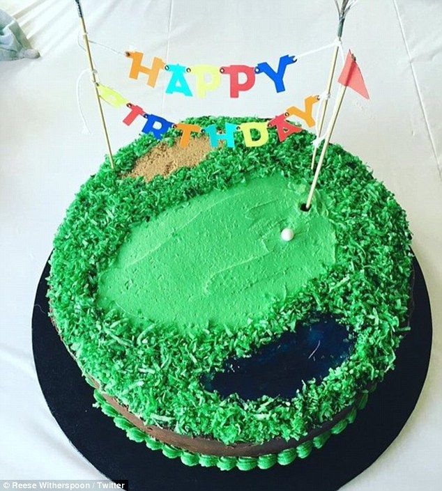 Perfect: Reese also posted this photo showing Deacon's green golf-themed birthday cakewith the caption: 'When it's my sweet, golf-loving boy's birthday.....we don't mess around!'