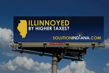 "I'm ""Illinnoyed"" but I'm still not moving to Indiana :) - Indiana pounced on Illinois' income tax increase two years ago. - Indiana Economic Development Corp."