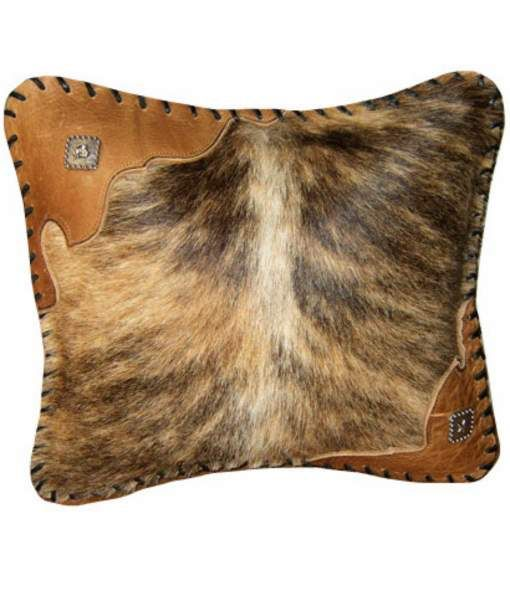 Gift Idea: Embellished Cowhide Pillow, square --- Add a dash of western flair to your sofa or chair.  http://rusticartistry.com/product/cowhide-pillow-20-x-20/