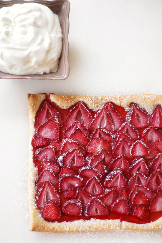 Pin for Later: Celebrate Berry Season With One of These 28 Recipes Strawberry Tart This surprisingly simple puff pastry strawberry tart requires minimal work, but your dinner guests will never know.