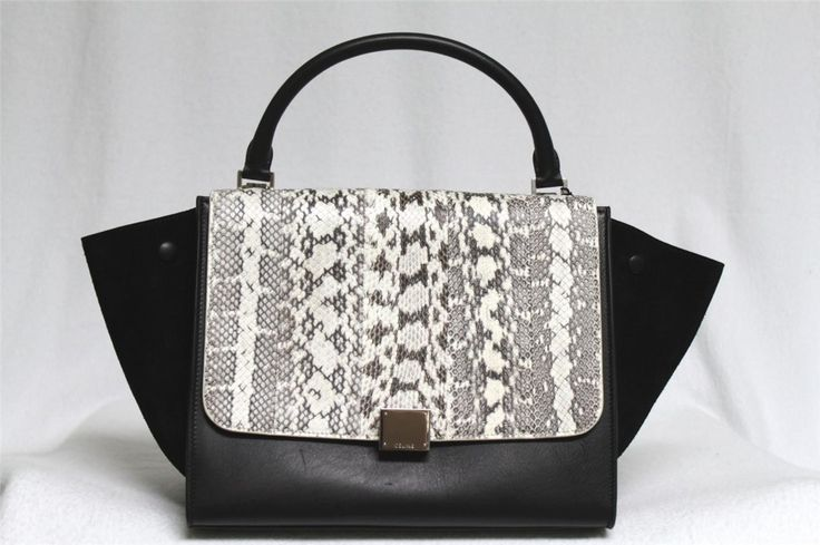 Celine 2013 Runway Black Natureal Tricolor Exotic Whipsnake Leather Suede Small Trapeze Luggage Tote