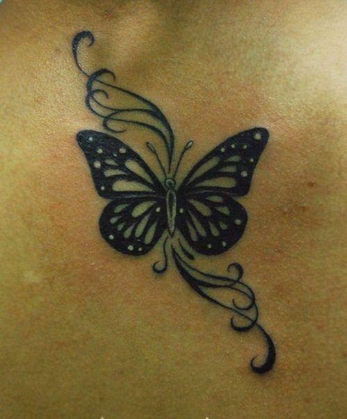 Black Beautiful Butterfly Tattoo with Swirls                                                                                                                                                      More