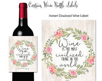 Instantánea descargar etiqueta de vino, vino es el más civilizado, cita a vino, vino, etiqueta de vino, imprimible etiqueta vino, vino regalo de anfitriona