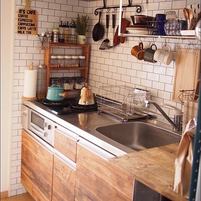 キッチン After画像 Dansk 古材風壁紙 サブウェイタイル風壁紙 などのインテリア実例 2016 02 24 17 00 25 Roomclip ルームクリップ キッチン インテリア キッチンアイデア