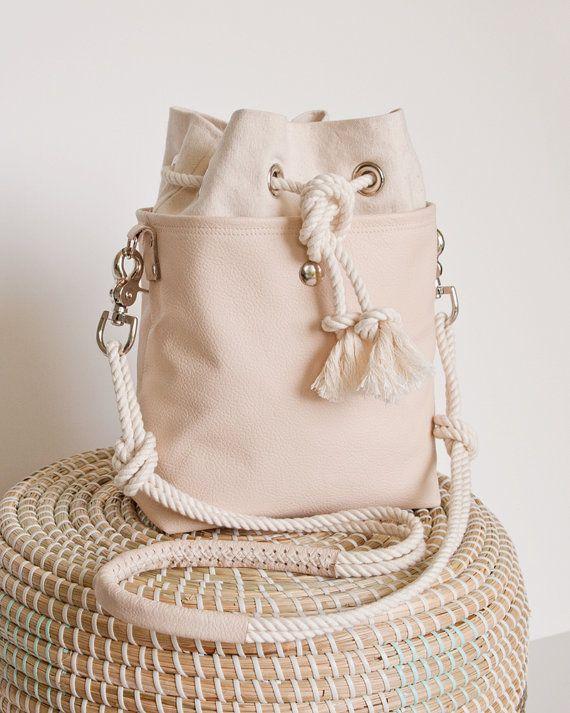 Bucket Bag Blush Nude Leather Mini Hobo, new design!