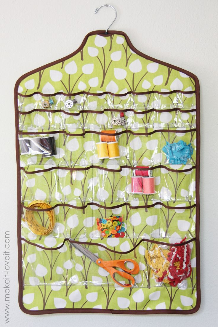 I love the idea of a hanging sewing notion organizer - could so use this in my room: Sewing Baskets, Hanging Jewelry, Sewing Rooms Closet Storage, Sewing Closet Organizations, Organizations A Sewing Rooms, Crafts Storage, Jewelry Holders, Spaces Savers, Sewing Notions